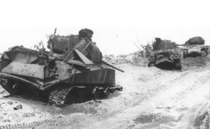 Shermans knocked out by Japanese defenders